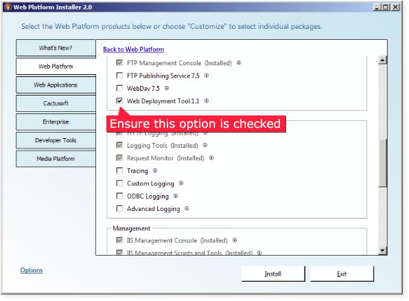 Using the Microsoft Web Platform Installer